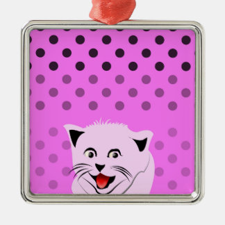 Polka dots_cats_pink_patterns_design christmas ornament