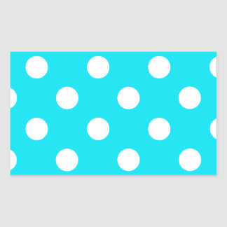Polka dots cyan hex code 00E3F4 Rectangular Sticker