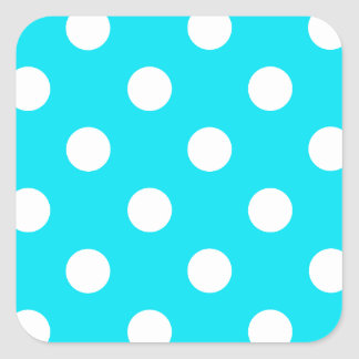 Polka dots cyan hex code 00E3F4 Square Sticker