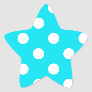 Polka dots cyan hex code 00E3F4 Star Sticker