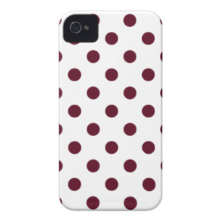 Polka Dots - Dark Scarlet on White iPhone 4 Case-Mate Cases