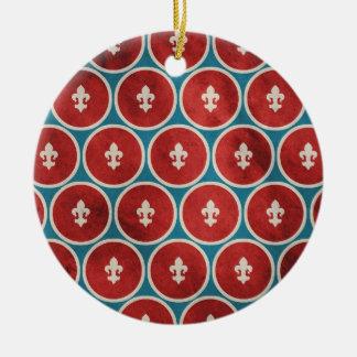 Polka Dots Fleur de Lis Christmas Ornament