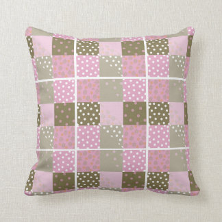 Polka Dots Flowers Brown Pink Quilt Cushion