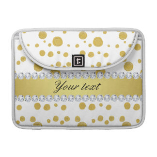 Polka Dots Gold Oil Paint and Diamonds Sleeve For MacBooks