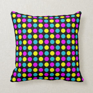 Polka Dots in PBY on Black Throw Pillow