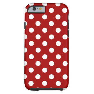 Polka Dots Large - White on Dark Candy Red Tough iPhone 6 Case