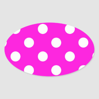 Polka dots magenta #FF00DC Oval Sticker