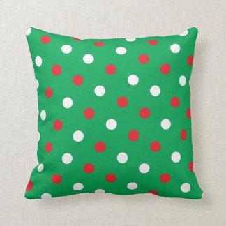 Polka Dots on Green Christmas Throw Cushion