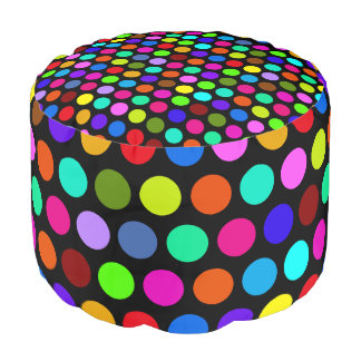 Polka Dots Pattern colored + your backgr. & text Pouf