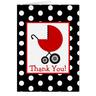 Polka Dots & Red Carriage Baby Shower Thank You Greeting Card