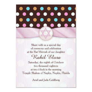 Polka dots, Star of David Bat Mitzvah Invitation