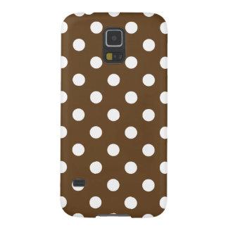 Polka Dots - White on Dark Brown Galaxy S5 Cases