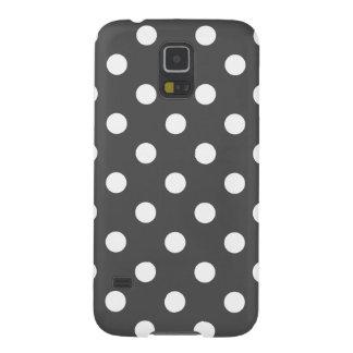 Polka Dots - White on Dark Gray Galaxy S5 Covers