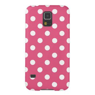 Polka Dots - White on Dark Pink Galaxy S5 Case
