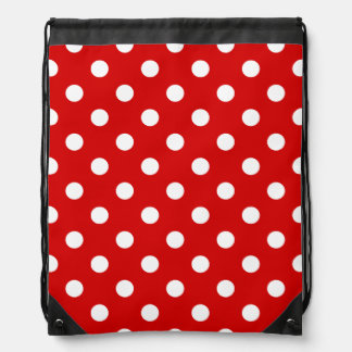 Polka Dots - White on Rosso Corsa Drawstring Bag