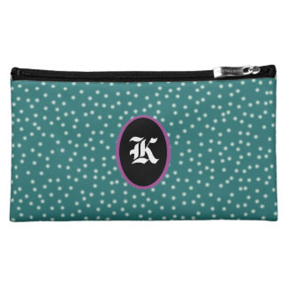 Polka dots with customizeable Initial Cosmetics Bags