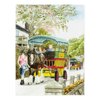 Polperro Horse Bus Postcard