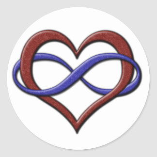 Polyamory Pride Infinity Heart Classic Round Sticker