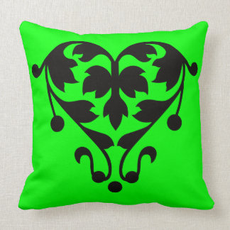 Polyester Throw Pillow with Heart Lime Throw Cushion