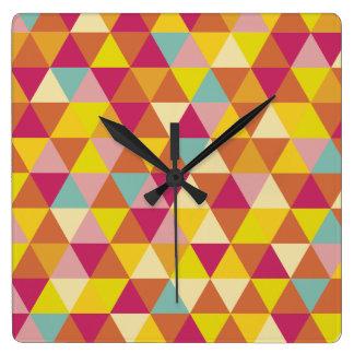 Polygon Multi color Triangles in Geometrical Shape Square Wall Clock