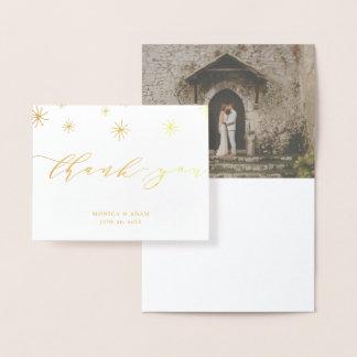 Pom Pom Modern Script Wedding Thank You Foil Card