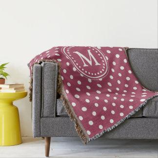Pomegranate and White Polka Dot Monogram Throw Blanket