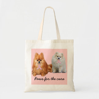 Pomeranian Breast Cancer Tote Bag