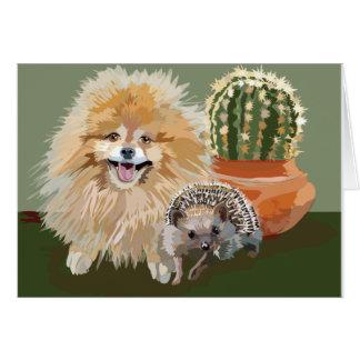 Pomeranian & Hedgehog card & envelope