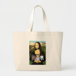 Pomeranian Puppies - Mona Lisa Large Tote Bag