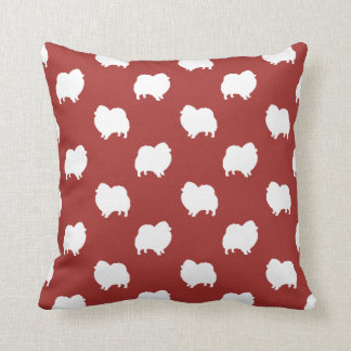 Pomeranian Silhouettes Pattern Red Throw Pillow