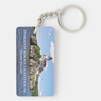 Pomham Rocks Lighthouse, Rhode Island Double-Sided Rectangular Acrylic Key Ring