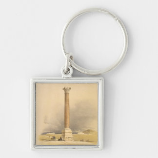 """Pompey's Pillar, Alexandria, from """"Egypt and Nubia Silver-Colored Square Key Ring"""