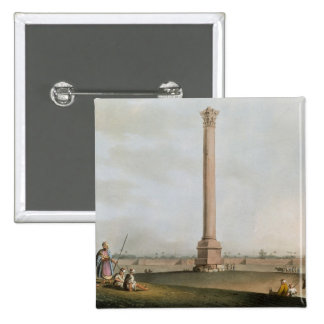 Pompey's Pillar, plate 14 from 'Views in Egypt', e 15 Cm Square Badge