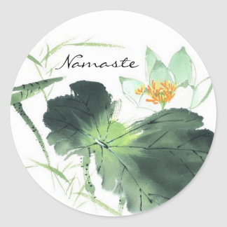 POND LOTUS PEACE l Chinese Brush Painting Art Classic Round Sticker