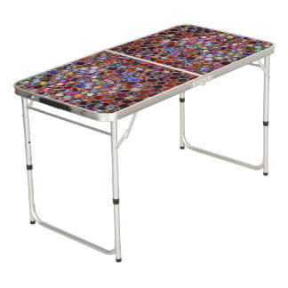 Pong Table print with colorful mosaic