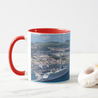 Ponta Delgada Aerial View 11 oz Red Ringer Mug