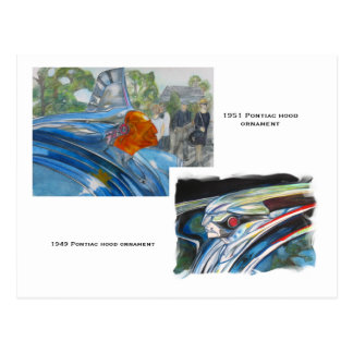 Pontiac hood ornaments postcard