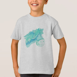 Pony horse aqua kids t-shirt