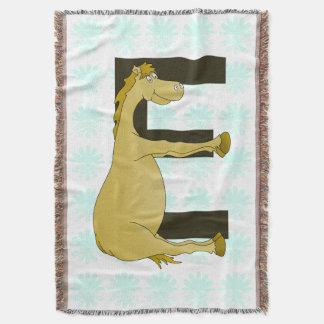 Pony Monogram Letter E Personalized Throw Blanket