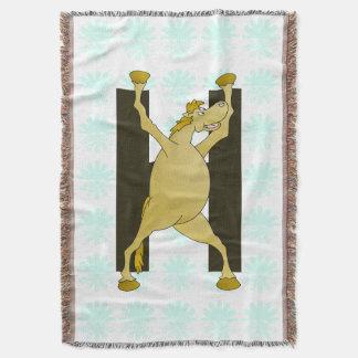 Pony Monogram Letter H Personalized Throw Blanket
