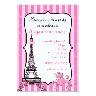 Poodle in Paris Pink Striped Eiffel Tower Chic Card