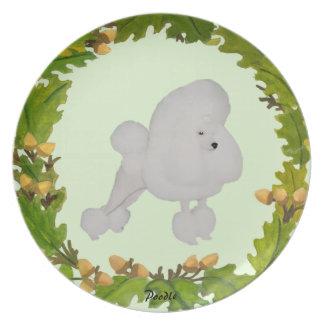 Poodle on Oak Leaves Plate
