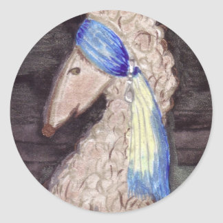 Poodle with the Pearl Earring Classic Round Sticker