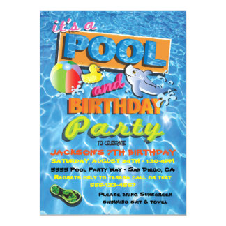 Pool Birthday Party Invitations with pool toys