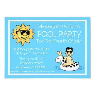 Pool Party 4th Of July (Male White Innertube) 13 Cm X 18 Cm Invitation Card