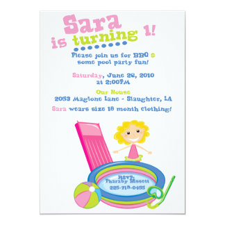 Pool Party Birthday 13 Cm X 18 Cm Invitation Card