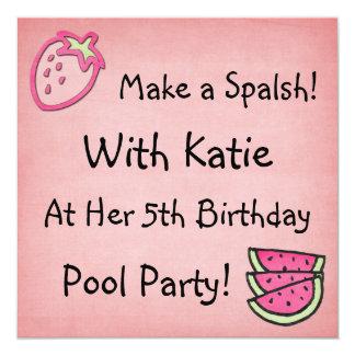 Pool Party Birthday Invitaiton 13 Cm X 13 Cm Square Invitation Card
