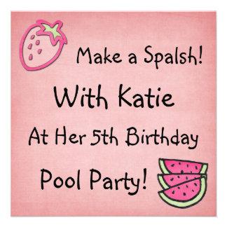 Pool Party Birthday Invitaiton Personalized Invites