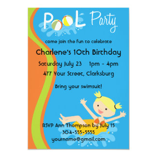 Pool Party Blonde 13 Cm X 18 Cm Invitation Card
