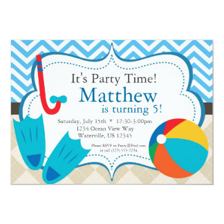 Pool Party Blue Chevron and Tan Argyle Birthday 13 Cm X 18 Cm Invitation Card
